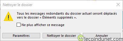 Outlook - Confirmation nettoyer