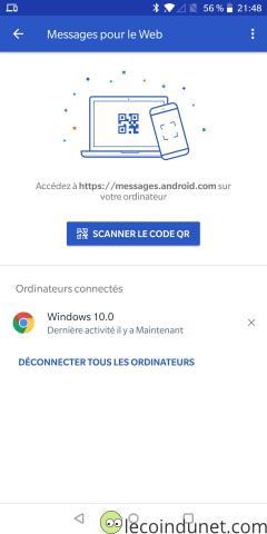 Android Messages - PC Connecté