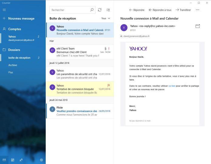 Courrier Windows 10