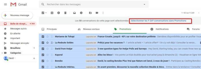 Gmail - Sélectionner x conversations