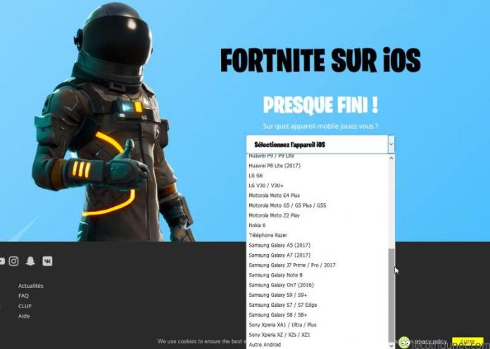 Fortnite - Appareils Android compatibles