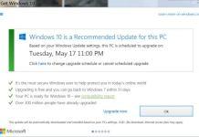 Mise à jour Windows 10 planifiée