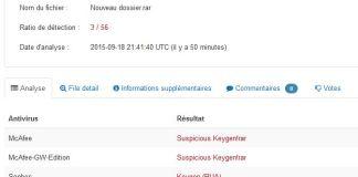 VirusTotal - résultat scan en ligne