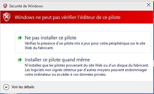Windows - Pilotes non signés