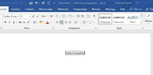 Word - Encadrer texte