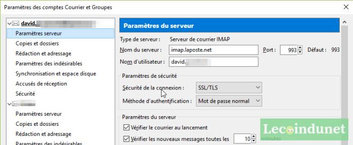 Configuration IMAP avec Thunderbird