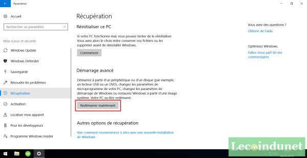 Comment redémarrer en mode avancé depuis les paramètres de Windows ?