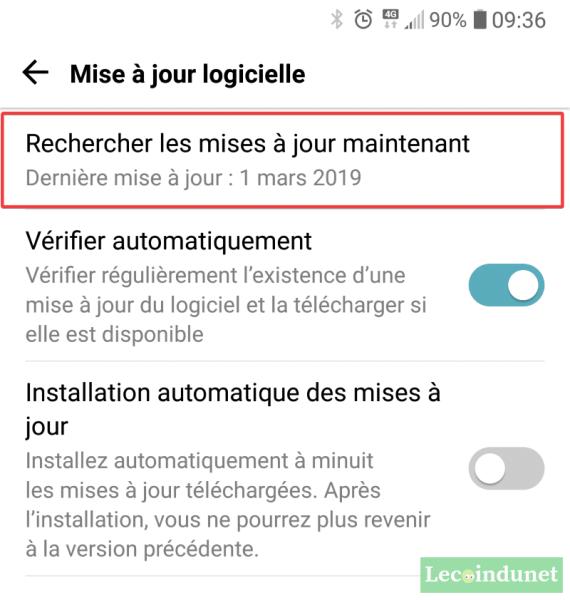 Rechercher et mettre à jour Android