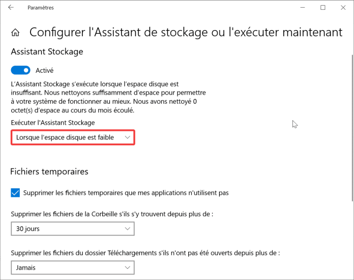 Configuration assistant stockage
