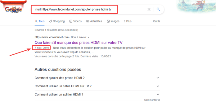 Date publication page web avec Google