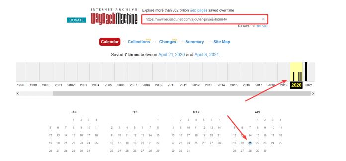 Age d'une page web avec Webarchive