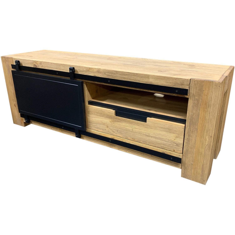 meuble tv pin massif brosse 1 porte coulissante