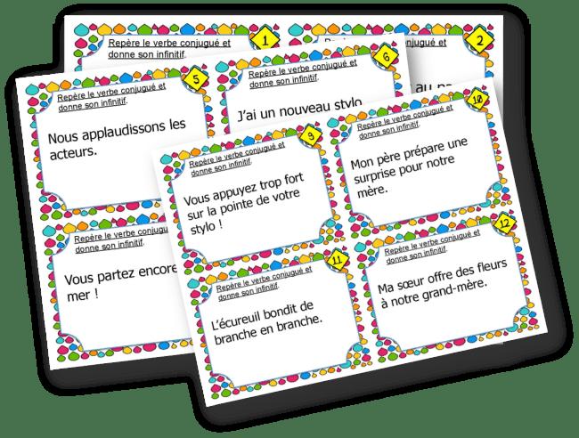 cartes a taches infinitif du verbe