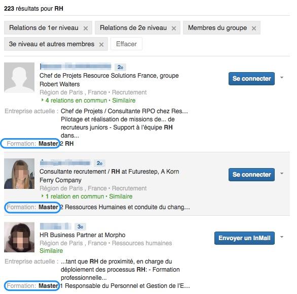 Résultats de recherche avancée master LinkedIn RH