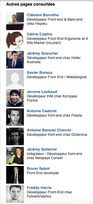 utiliser autres pages consultées linkedin synonymes