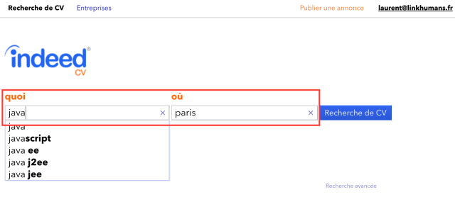 indeed CV recherche mot cle