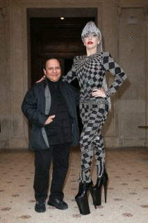 PARIS, FRANCE - JANUARY 20: Lady Gaga poses with designer Azzedine Alaia at the Galliera Museum on January 20, 2014 in Paris, France. (Photo by Marc Piasecki/Getty Images)