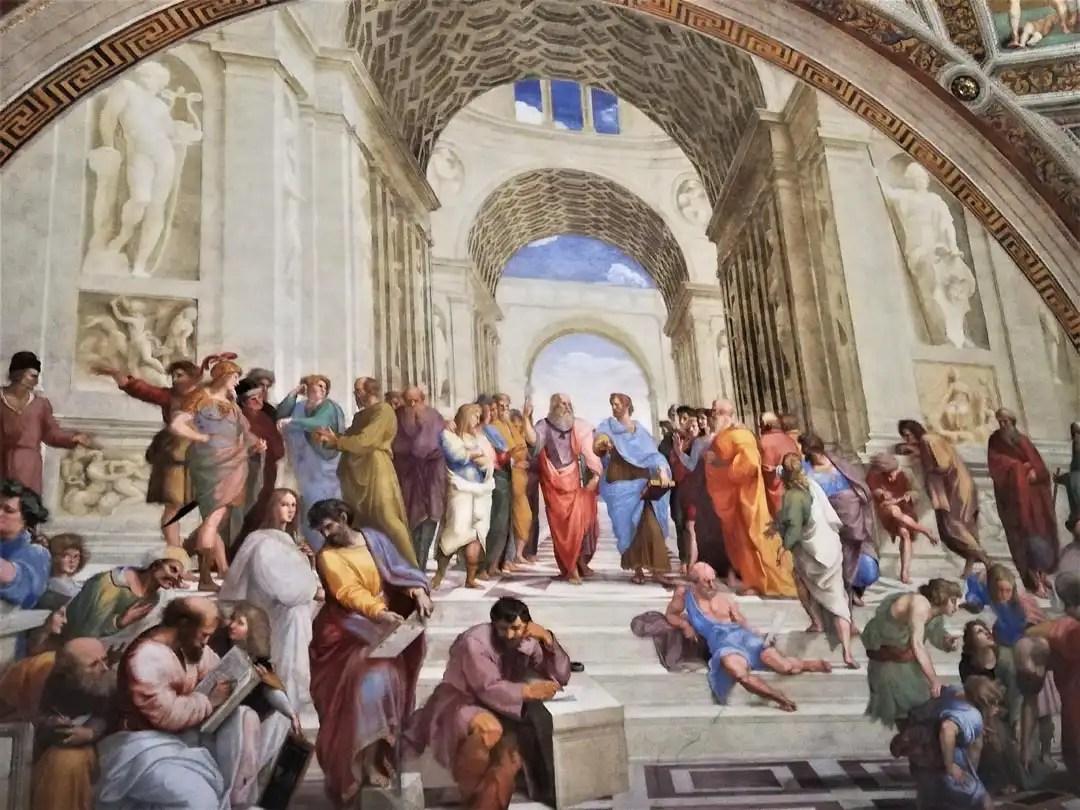 Scuola di Atene, affresco nelle Stanze di Raffaello ai Musei Vaticani di Roma