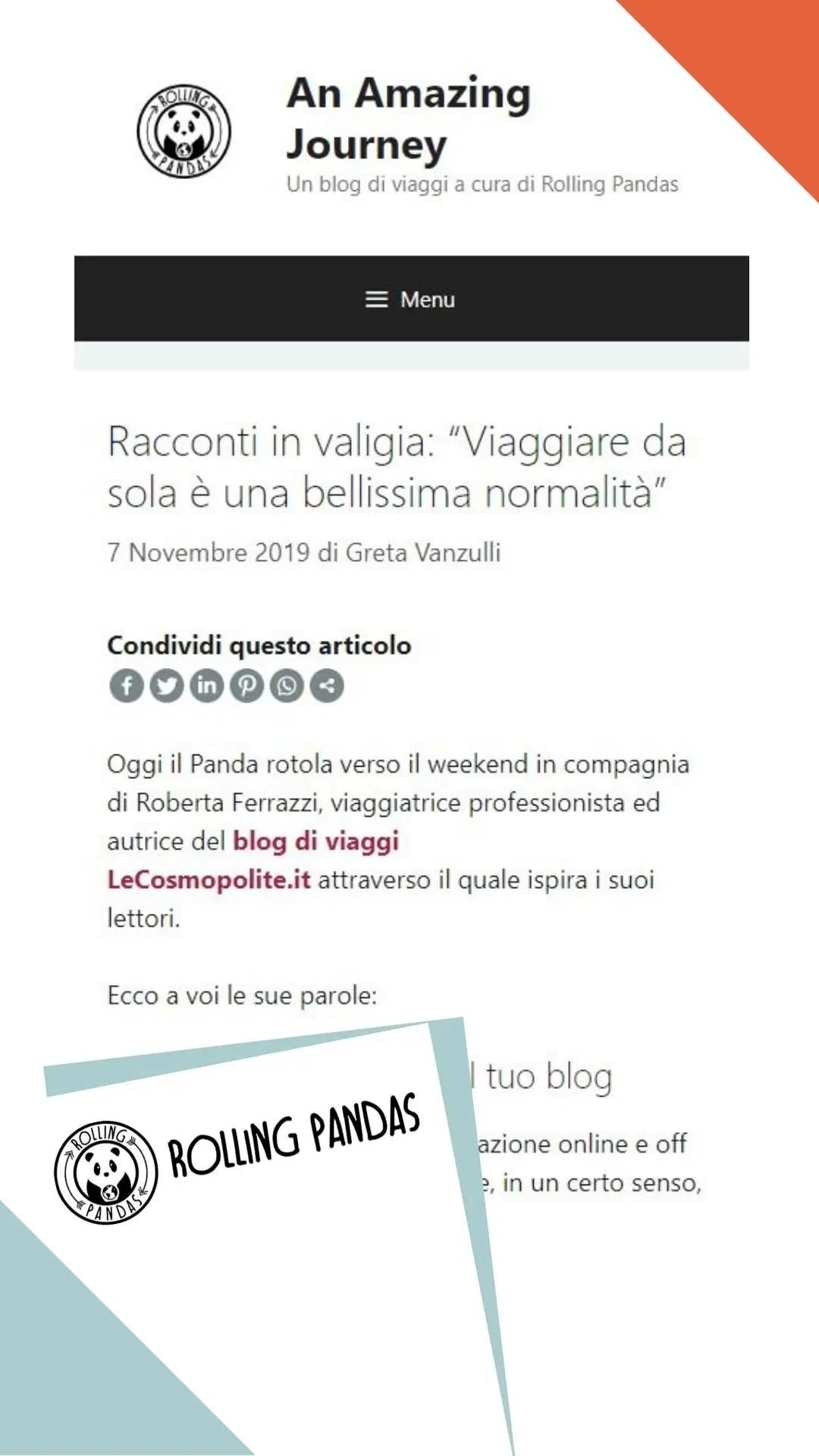 Intervista Roberta Ferrazzi pubblicata in RollingPanda