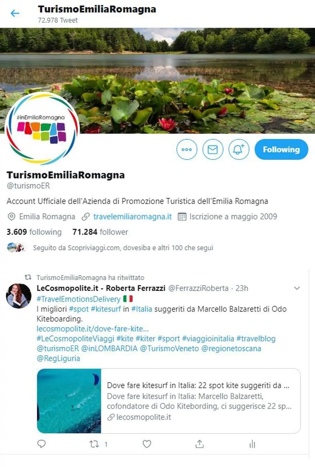 Roberta Ferrazzi di LeCosmopolite.it menzionata in Turismo Emilia Romagna