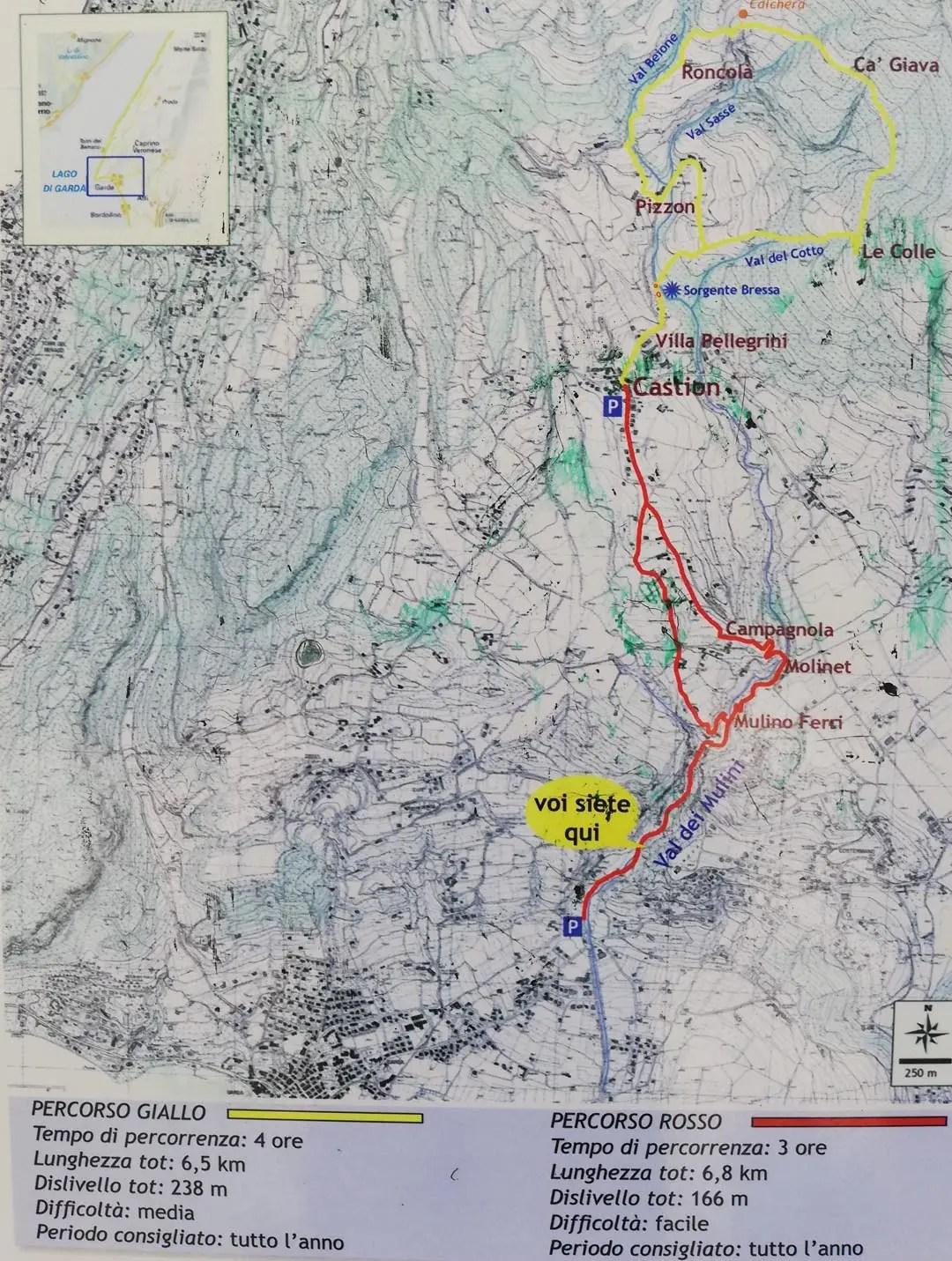 Mappa Valle dei Mulini Garda