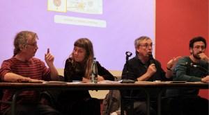 Les membres de l'OPP de Toulouse, Daniel Welzer-Lang, Marie Toustou, Pascal Gassiot et Benjamin Francos, lors de la présentation publique de leur rapport le 17 avril.