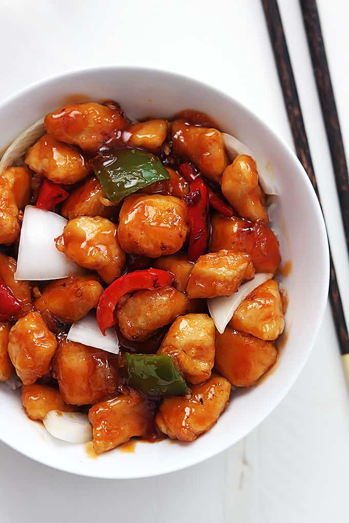 Healthy Sweet and Sour Chicken Dinner Recipe via Creme de la Crumb
