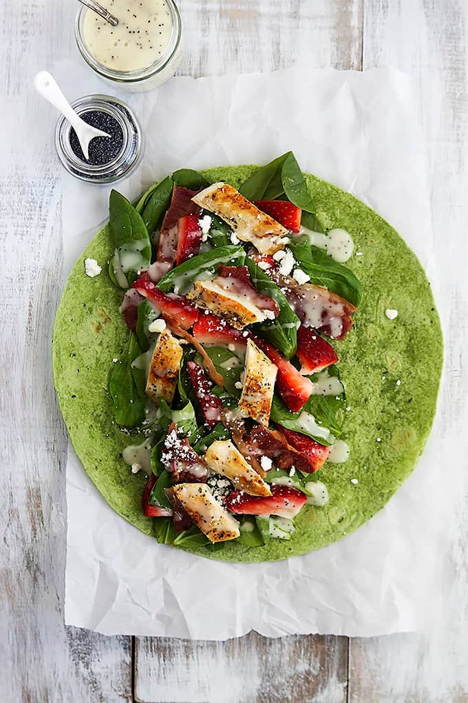 Strawberry Chicken Bacon & Spinach Wraps with Poppyseed Dressing