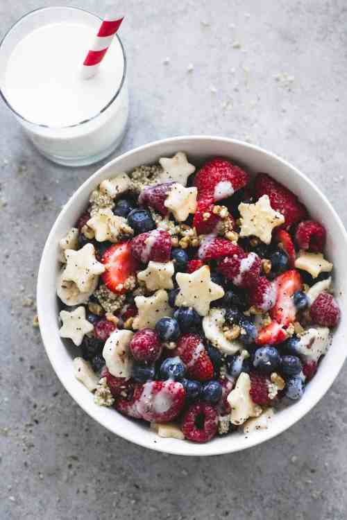 Patriotic Fruit Salad with Honey Lime Dressing red white and blue appetizer