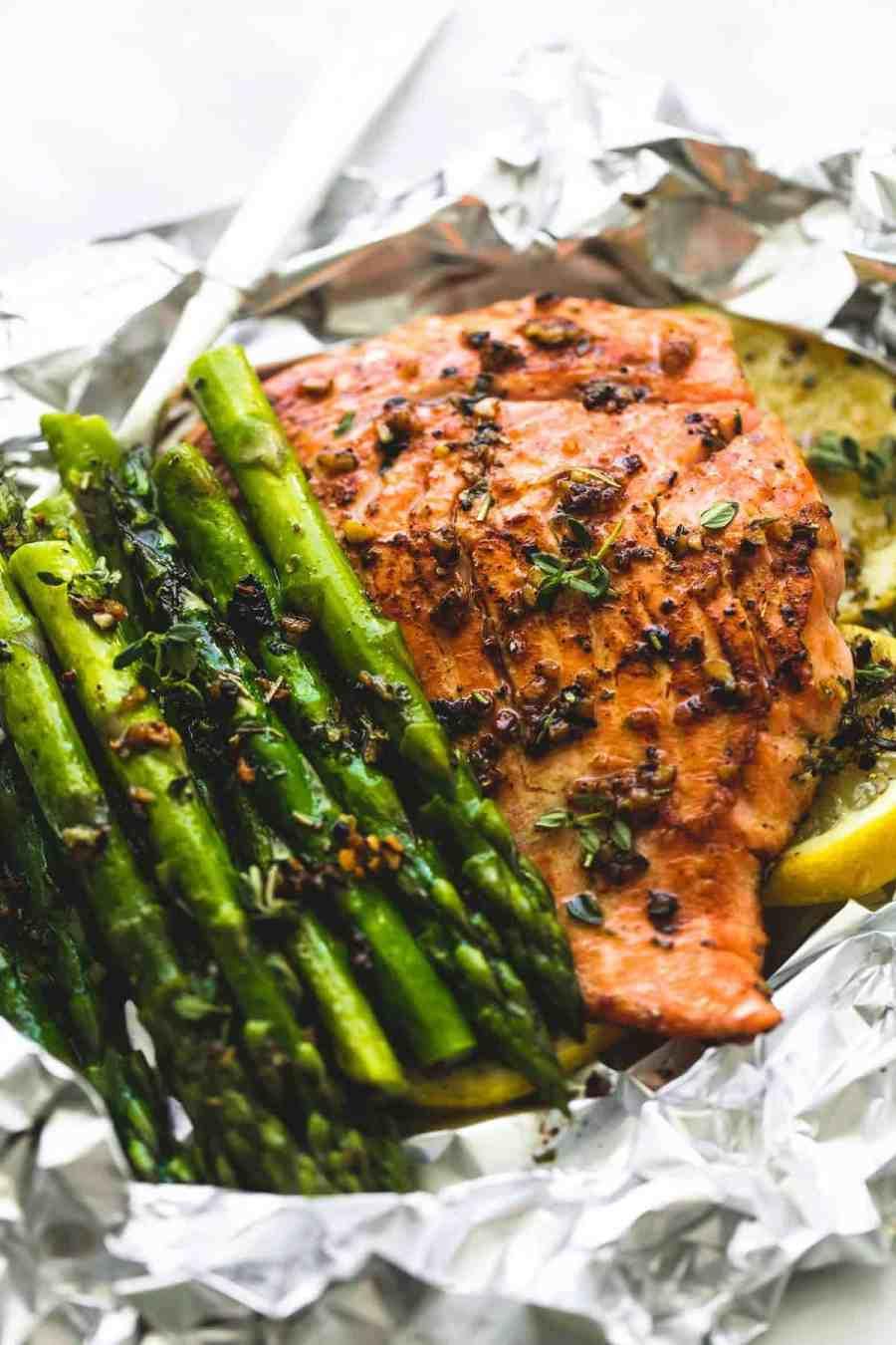 Herb Butter Salmon and Asparagus Foil Packs   lecremedelacrumb.com