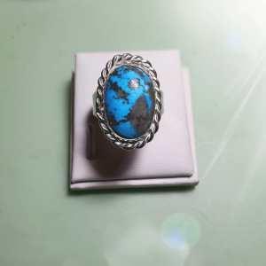 Bague  Femme argent  925 millième serti clos Turquoise pierre naturelle