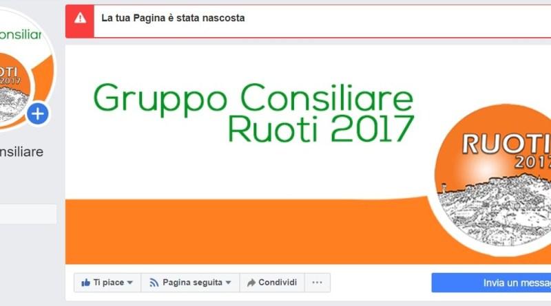 """OSCURATA LA PAGINA FB """"RUOTI2017"""""""
