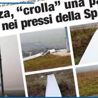 """POTENZA, """"CROLLA"""" UNA PALA EOLICA NEI PRESSI DELLA SP 30"""