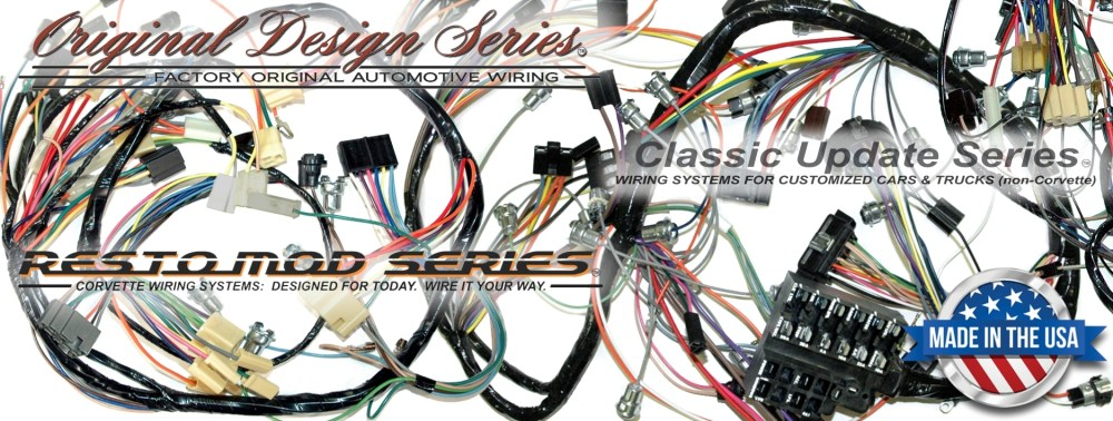 medium resolution of exact oem reproduction wiring harnesses and restomod wiring systems 1965 corvette new repro dash ip wiring harness w bu lamps usa made