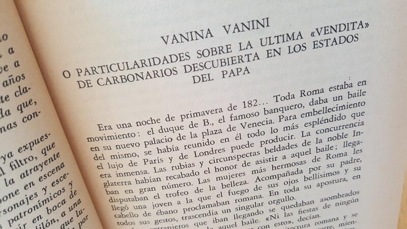 Reseña cuento Vanina Vanini de Stendhal