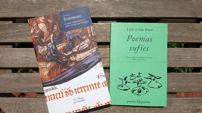Libros de Bukowski y de Rumi