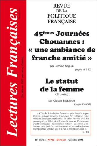 N° 702 – OCTOBRE 2015 : 45ÈMES JOURNÉES CHOUANNES : «UNE AMBIANCE DE FRANCHE AMITIÉ» – LE STATUT DE LA FEMME (2E PARTIE)