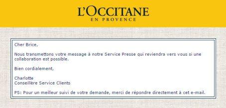 Second mail de réponse l'Occitane - Savon de Marseille