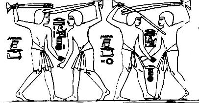 Immagine geroglifica della danza maschile con il bastone - Tomba di Kheruef