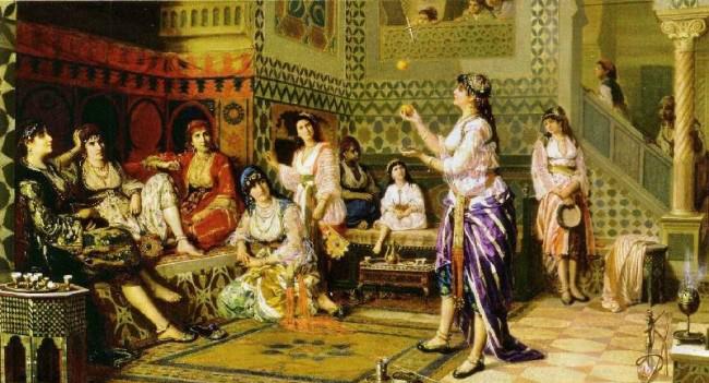Una giocoliera intrattiene le donne dell'harem di Jan-BaptistHuysmans