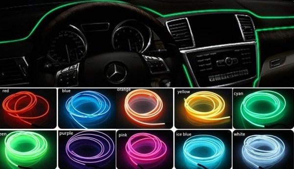 Fir neon auto electroluminiscent El Wire 2m cu lumina Verde cu droser si mufa bricheta HID