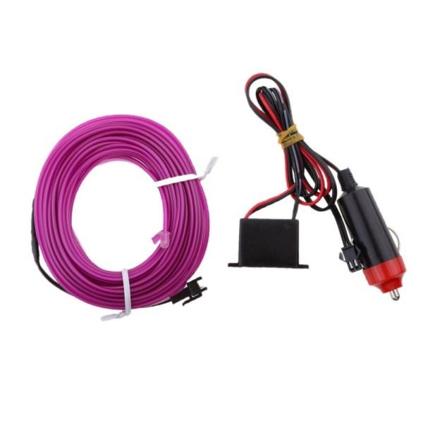 Fir neon auto electroluminiscent El Wire 2m cu lumina Mov / Violet cu droser si mufa bricheta HID