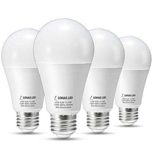 lohas led light bulbs 100 watt equivalent daylight 5000k a19 led bulb