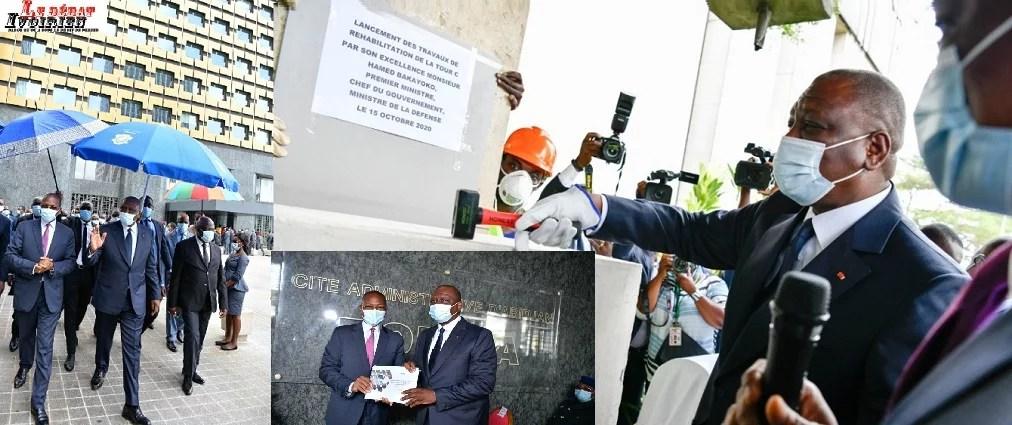 Hamed Bakayoko premier ministre inaugure les Tour A et B LEDEBATIVOIRIEN.NET