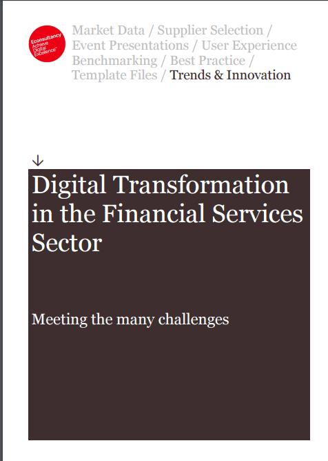 La page frontale du rapport eConsultancy intitulé Digital Transformation in Financial Services & Insurance