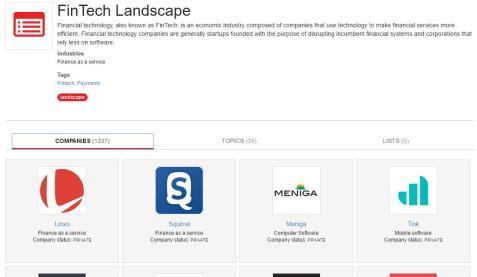 Page de présentation des fintech par catégorie