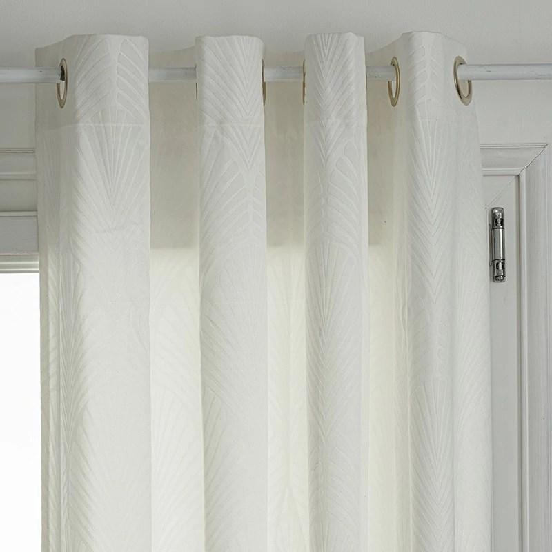 rideau velours motifs feuille feel ivoire 140x260 atmosphera