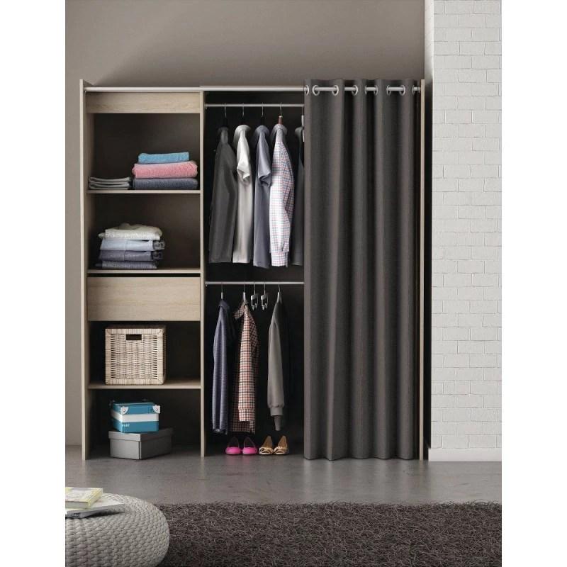 armoire placard extensible avec rideau chene brosse