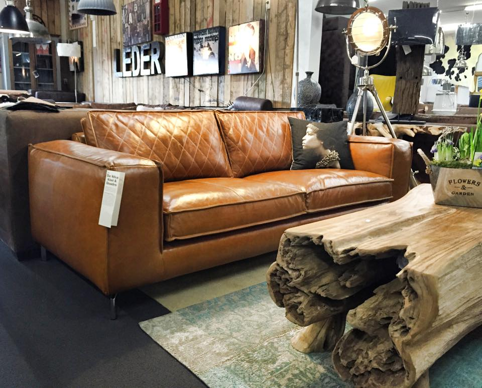 Design bank Paulo in da Silva leder cognac