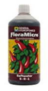 Image of a bottle of FloraMicro nutrient solution used for growing plants hydroponically
